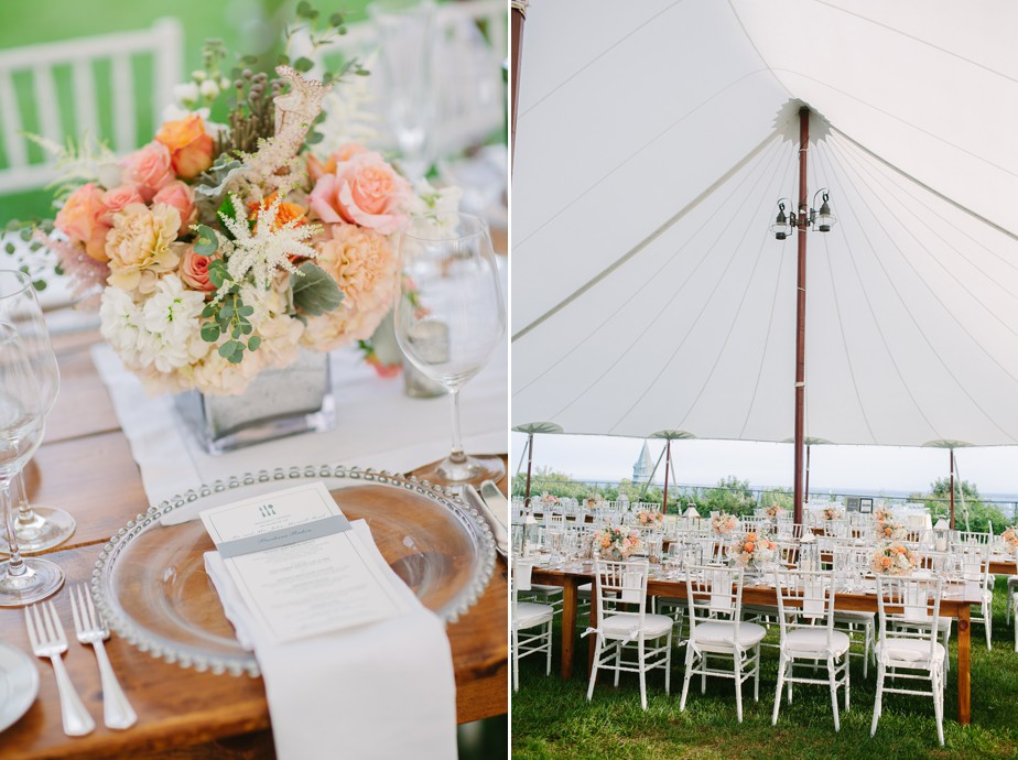tented reception at pilgrim monument wedding provincetown Ptown