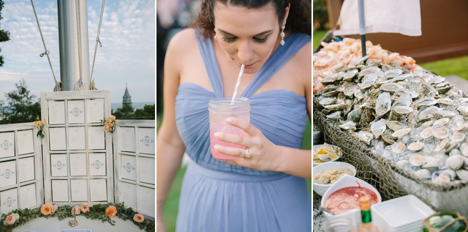 peach wedding details at pilgrim monument wedding provincetown Ptown
