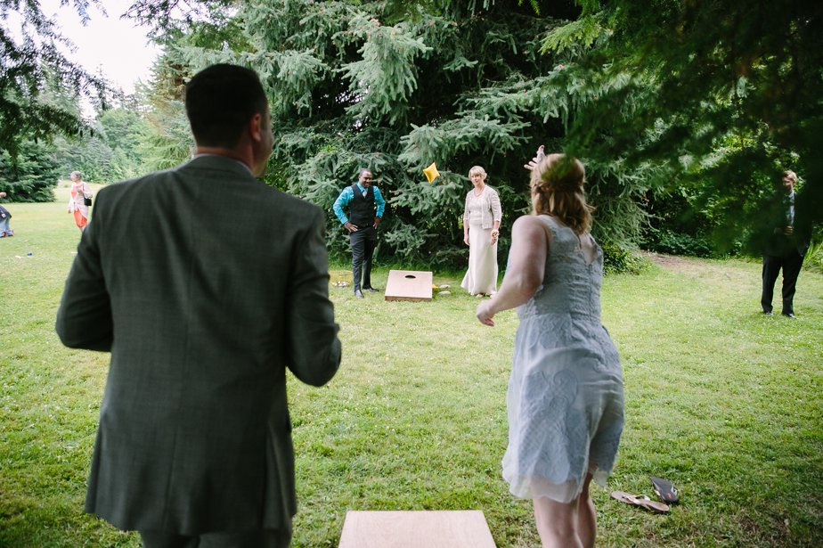 lawn games for cocktail hour at mt hood organic farm