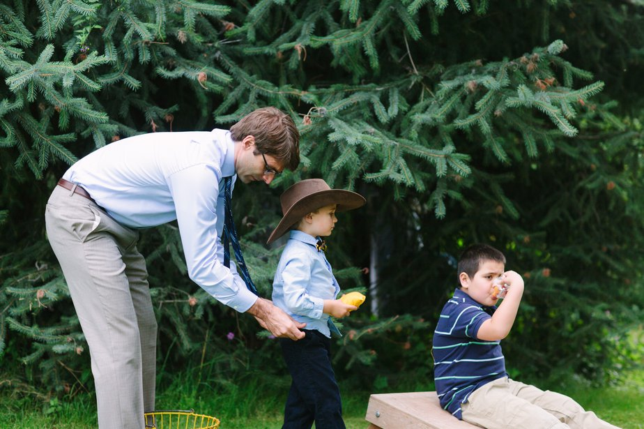 dad helps son at mt hood organic farm