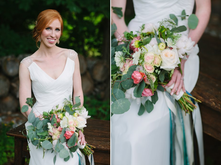 nh white mountains bride with bouquet