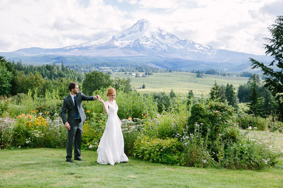 dancing in front of mt hood at the farm