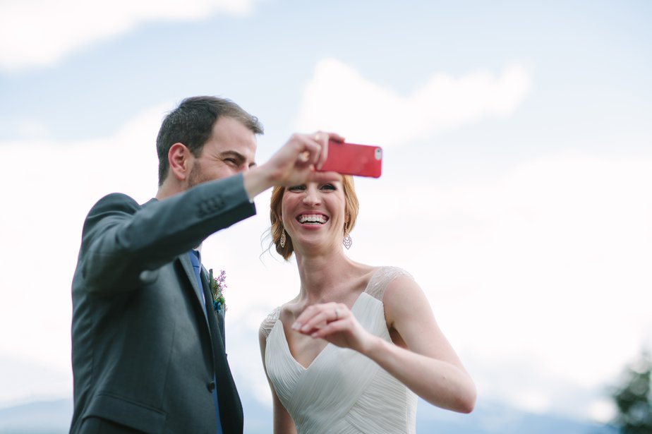 bride and groom selfie at mt hood organic farm