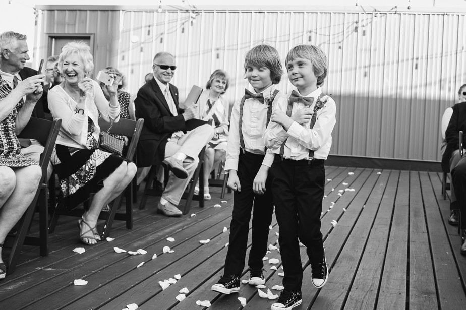 ring bearers rooftop ceremony at coppersmith boston restaurant wedding