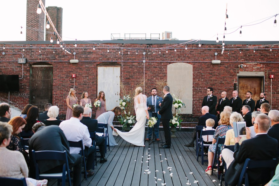 rooftop ceremony at coppersmith boston restaurant wedding