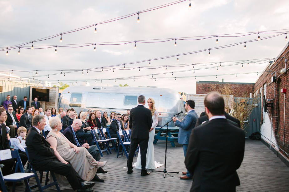 rooftop ceremony with airstream at coppersmith boston wedding
