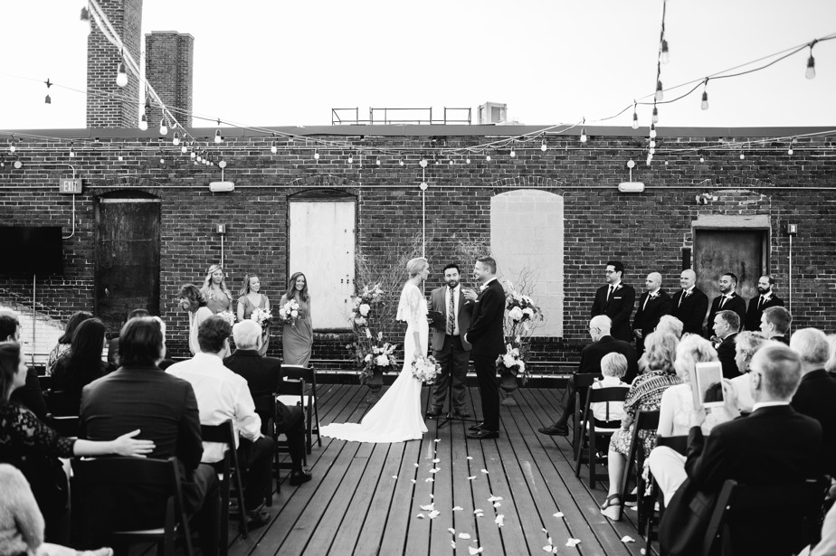 black and white ceremony shot at coppermsith boston