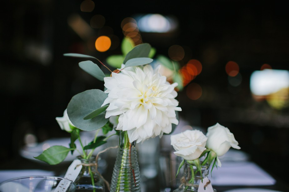 white dahlias at boston restaurant wedding