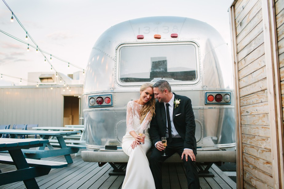 airstream bride and groom at coppersmith boston