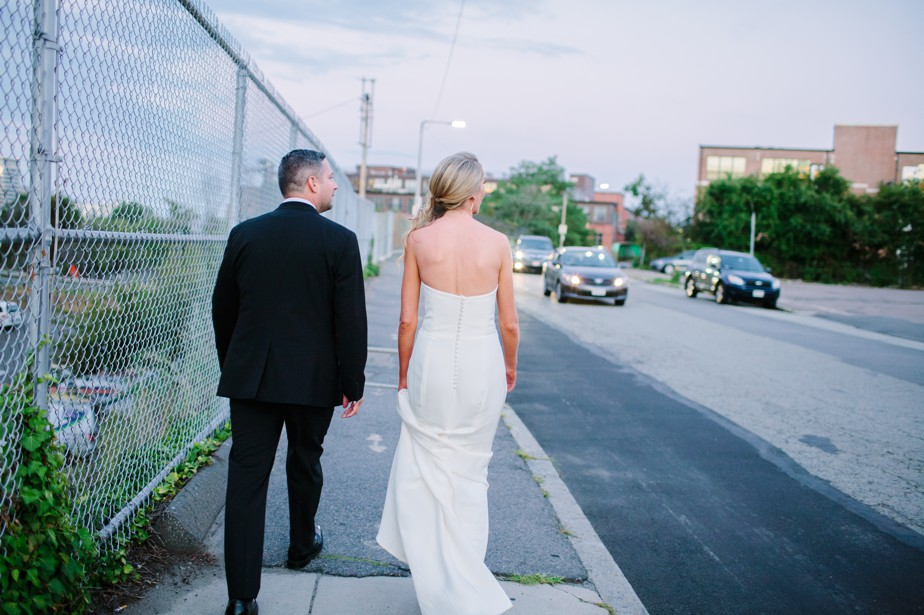 bride and groom take a walk at coppersmith boston wedding