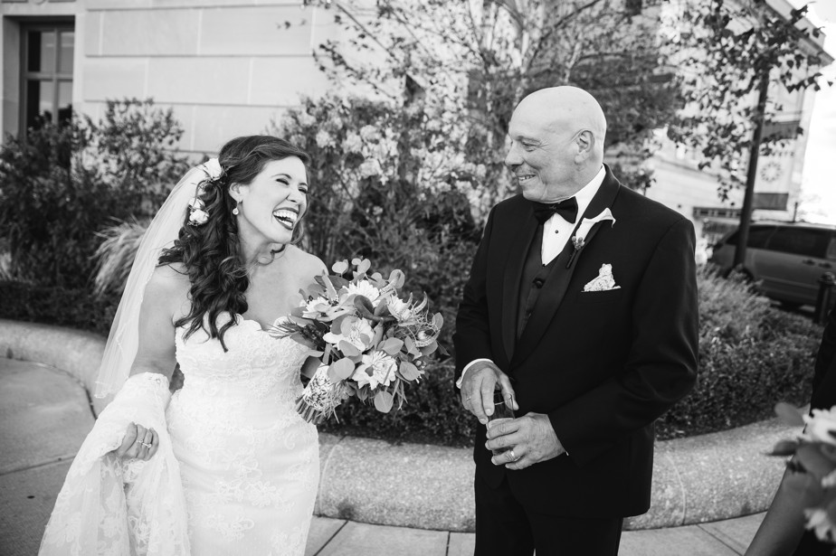 bride and dad Roger Williams Botanical Garden Wedding, Providence RI