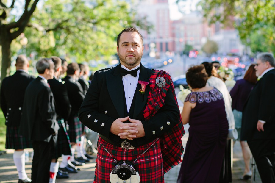 groom with kilt Roger Williams Botanical Garden Wedding, Providence RI