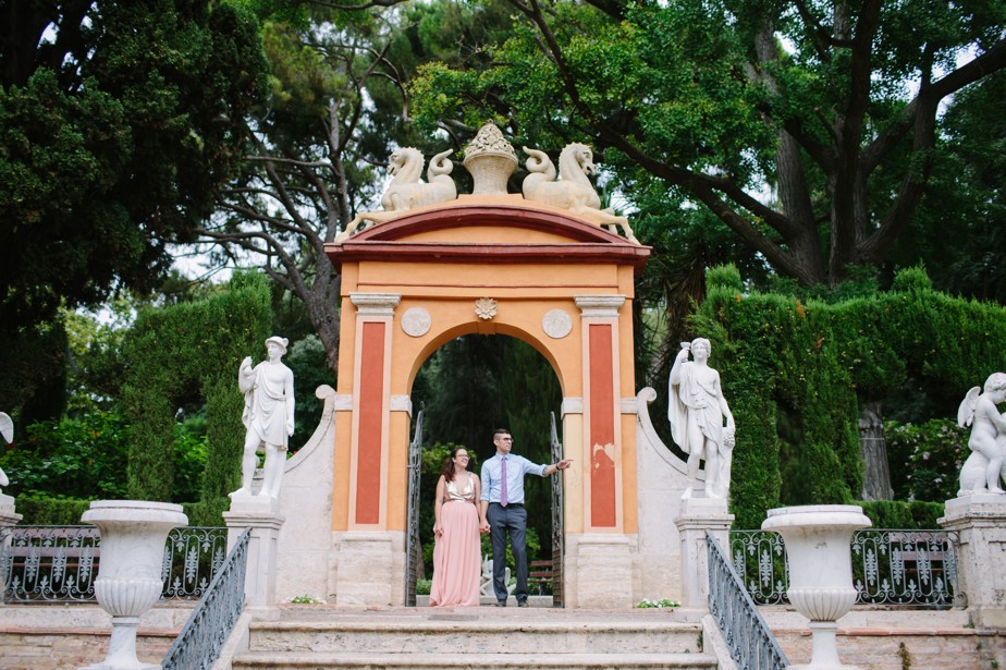 Destination engagement shoot Valencia Spain Monforte garden