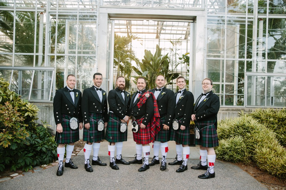 groom and groomsment in kilts at Roger Williams Botanical Garden Wedding, Providence RI