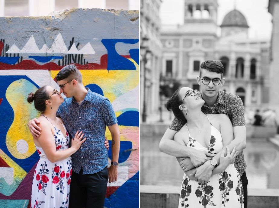 Destination engagement shoot in Valencia Spain plaza de la virgen with american photographer