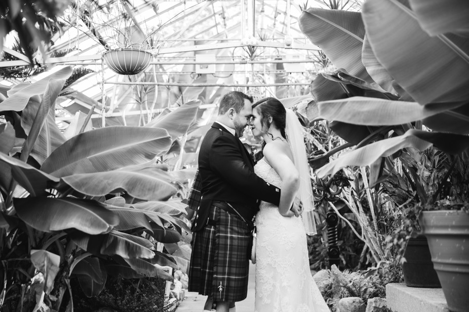 bride and groom in green house Roger Williams Botanical Garden Wedding, Providence RI