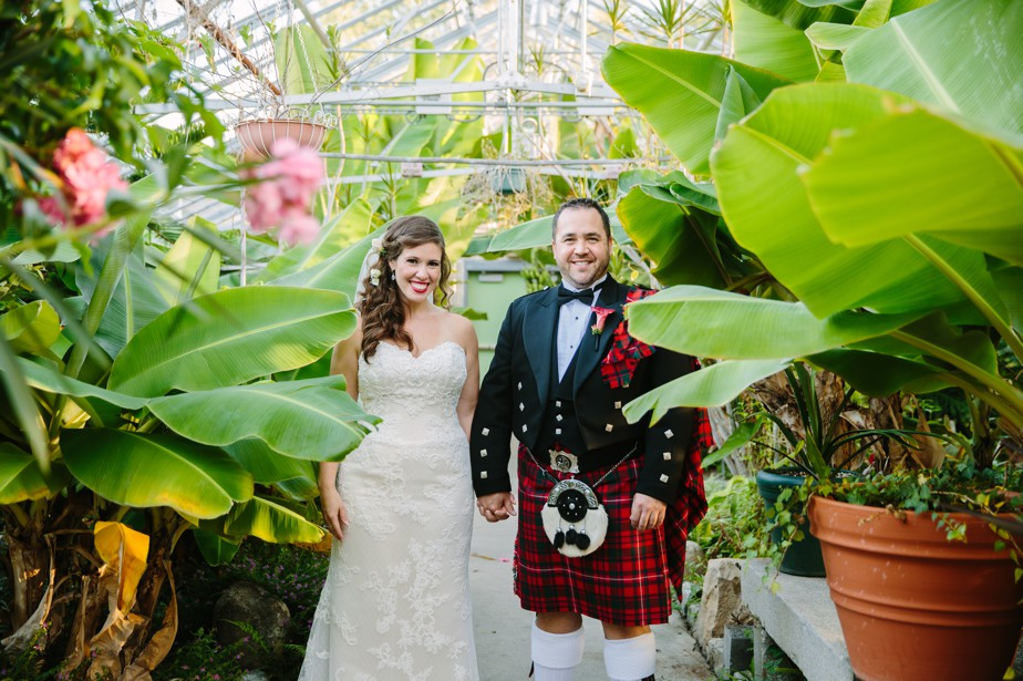 groom in kilt Roger Williams Botanical Garden Wedding, Providence RI
