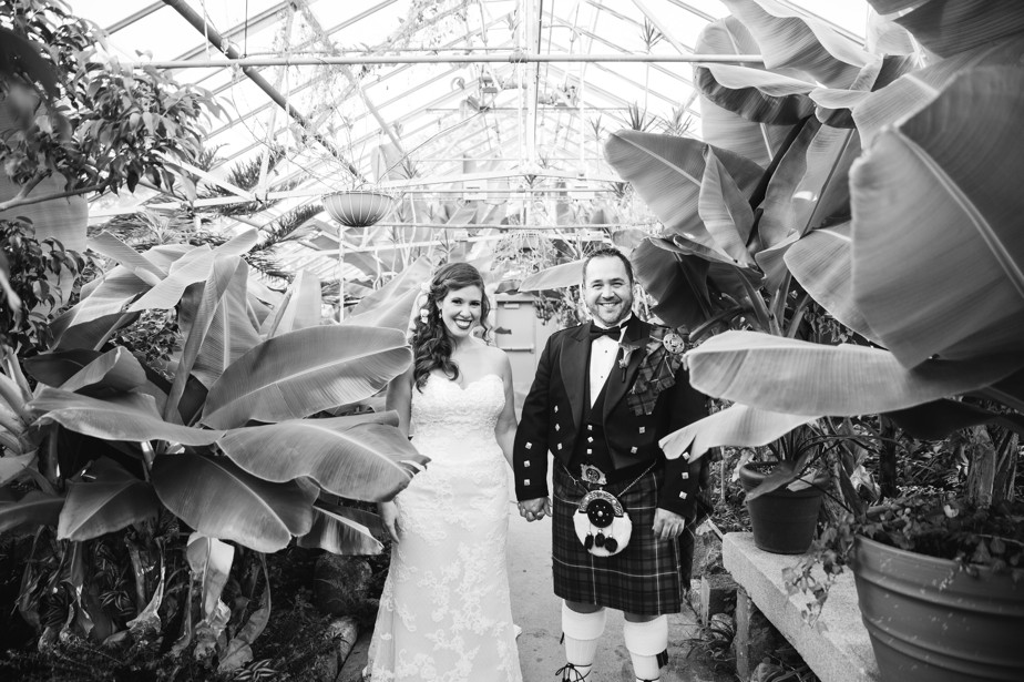 bride and groom in kilt Roger Williams Botanical Garden Wedding, Providence RI