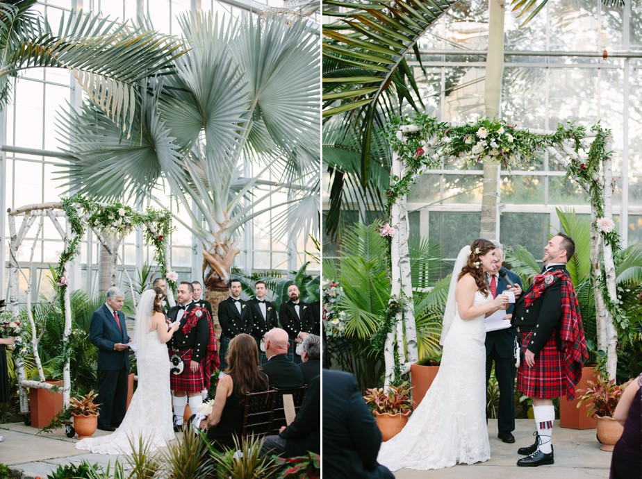 ceremony in green house Roger Williams Botanical Garden Wedding, Providence RI