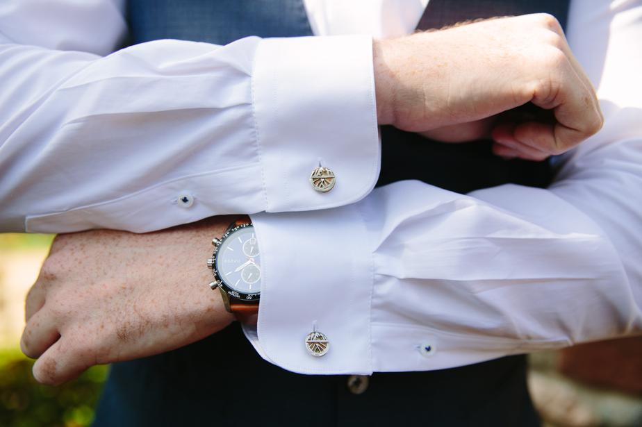 custom cufflinks for the estate at moraine farm wedding
