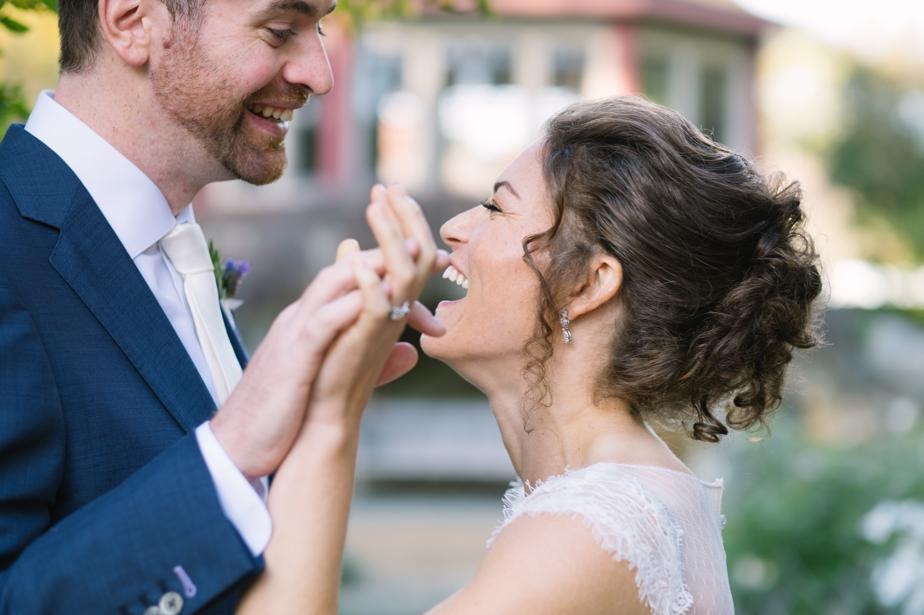 couple laughs at the estate at moraine farm wedding