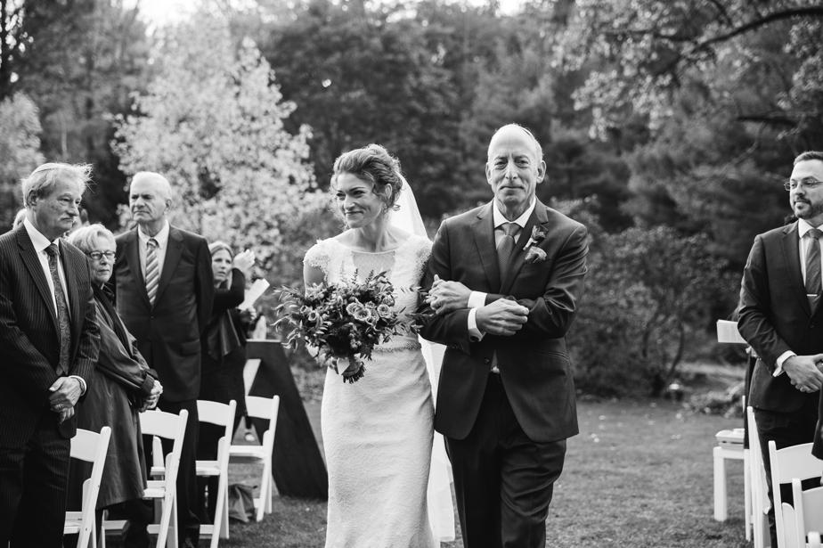 father walks daughter down the aisle the estate at moraine farm wedding