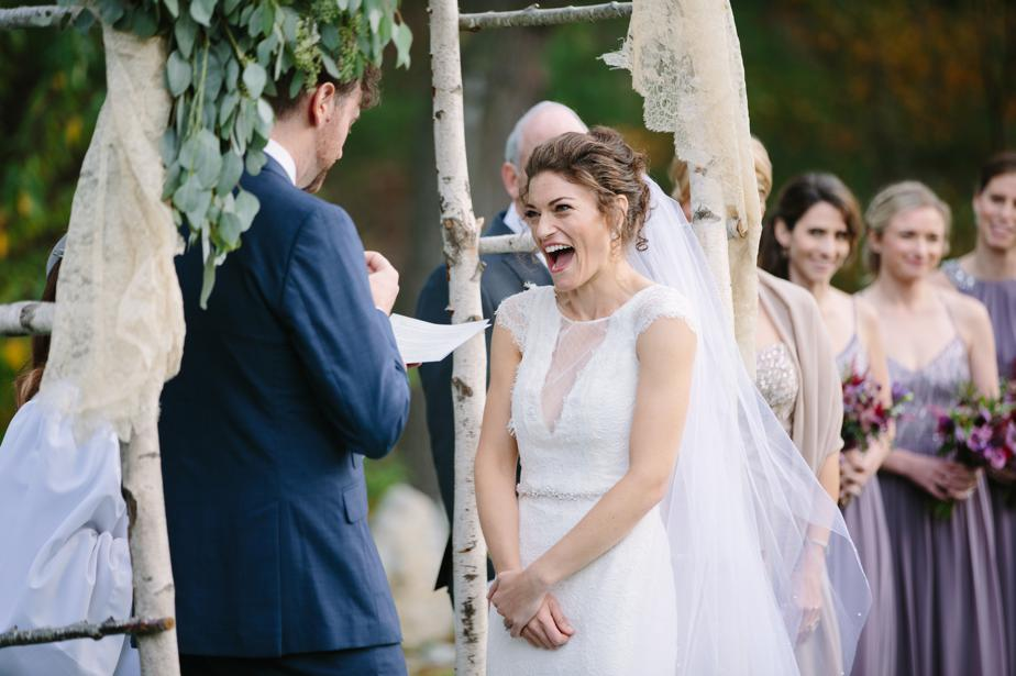 bride laughs at vows the estate at moraine farm wedding