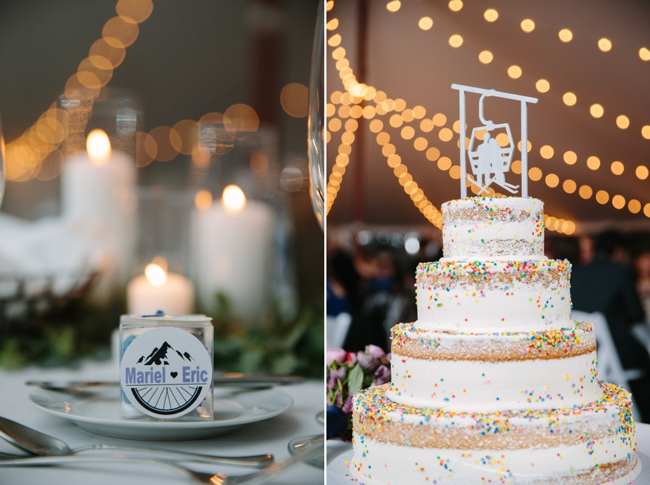 funfetti wedding cake at the estate at moraine farm wedding