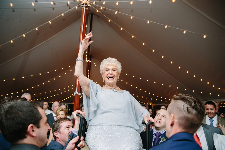 grandma up for horrah at the estate at moraine farm wedding