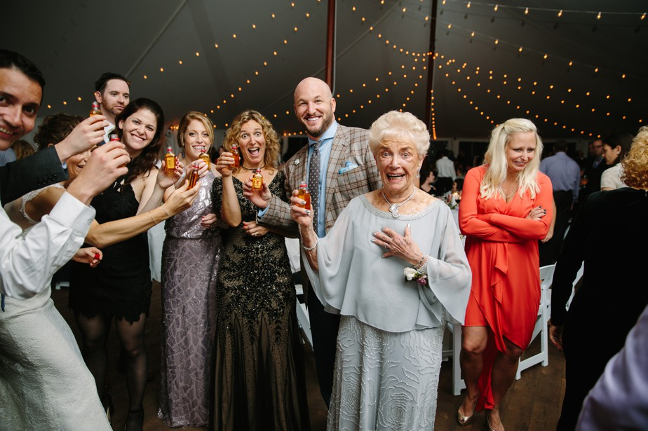 grandma does fireball shots at the estate at moraine farm wedding