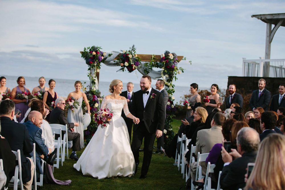 Ceremony on the lawn at wychmere beach club