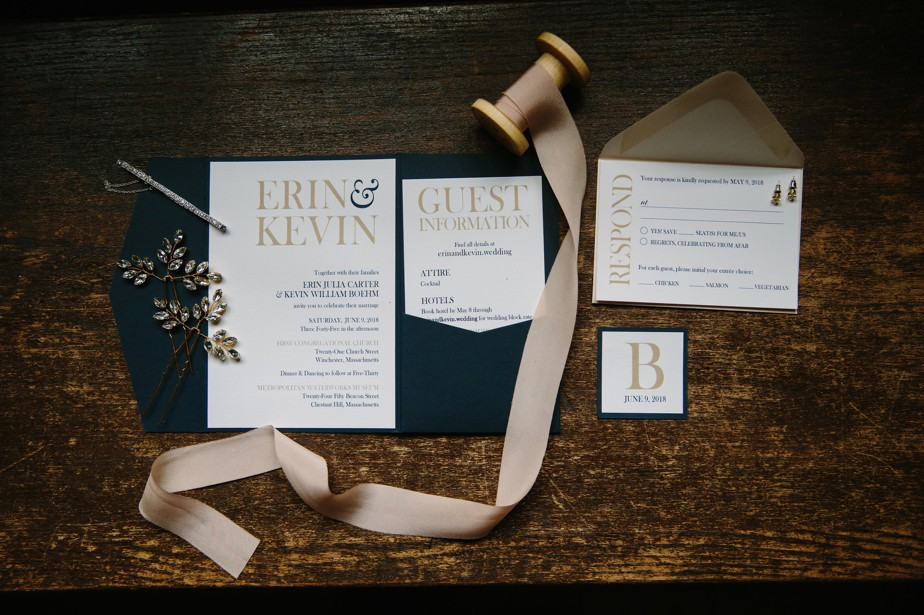 invitation suite for a waterworks museum wedding in Brookline, MA