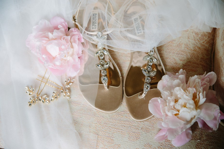 badgley mischka shoe detail waterworks museum wedding in Brookline, MA