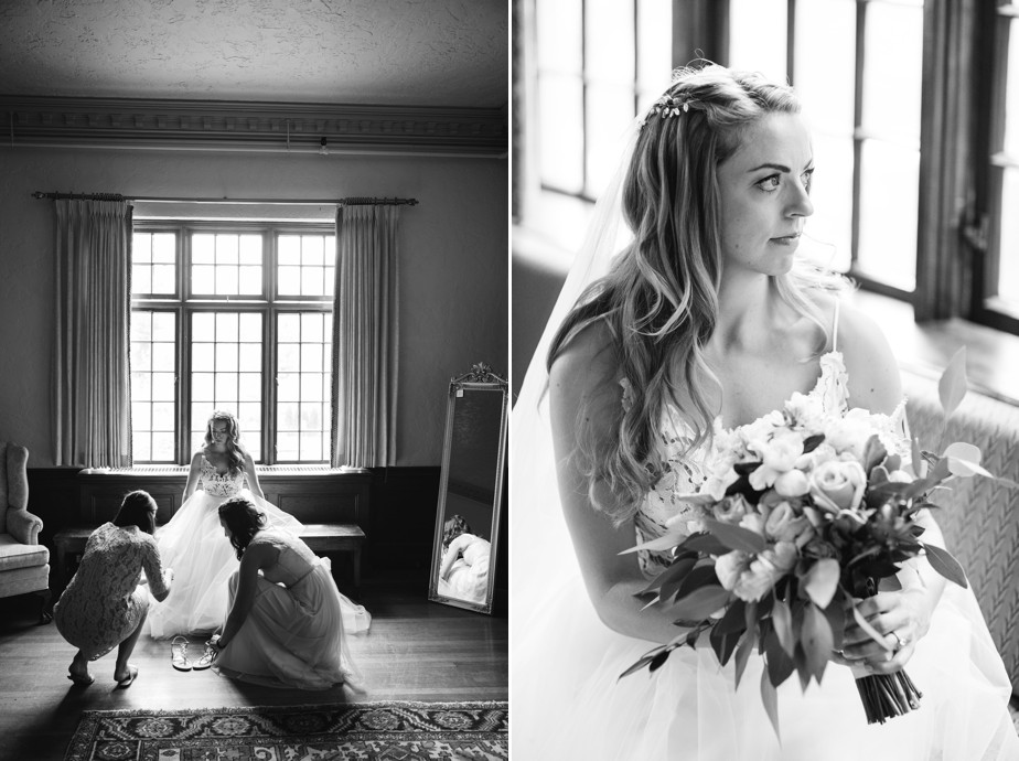 black and white portrait of bride on her waterworks museum wedding in Brookline, MA