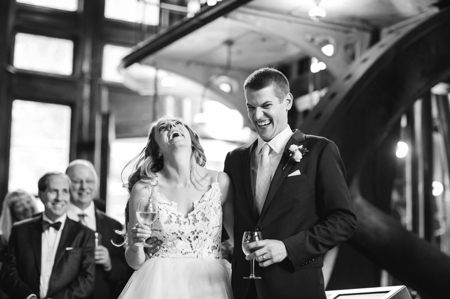 best laugh reaction to tasts at waterworks museum wedding brookline, MA
