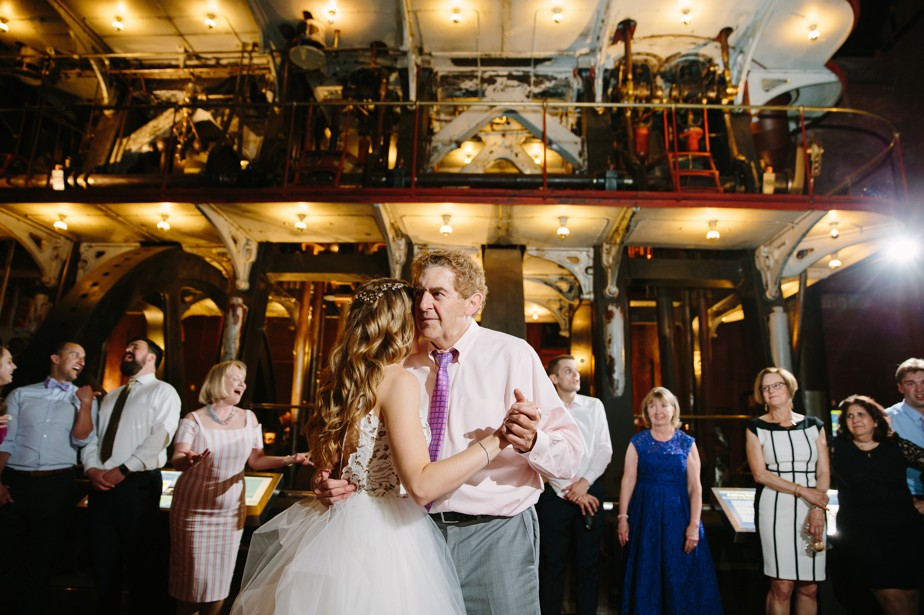 father daughter dance at industrial space waterworks museum wedding brookline, MA
