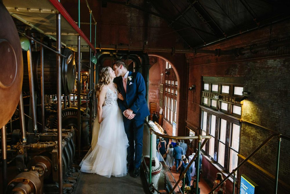 industrial wedding at waterworks museum in brookline, MA