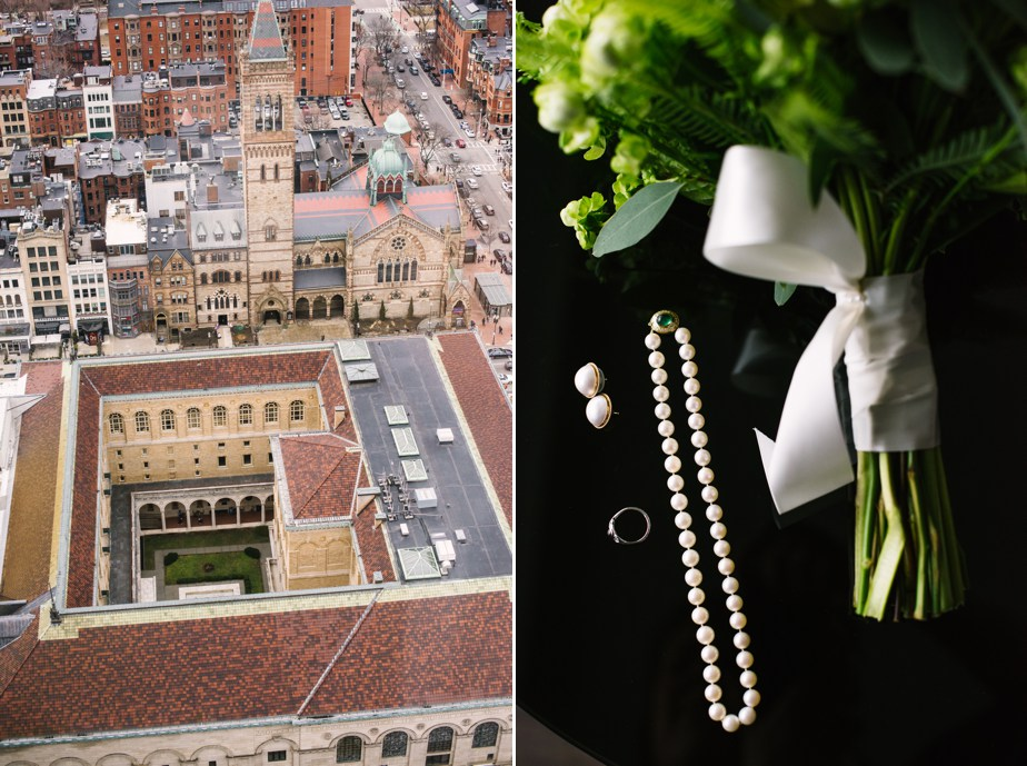 view from above of boston public library wedding