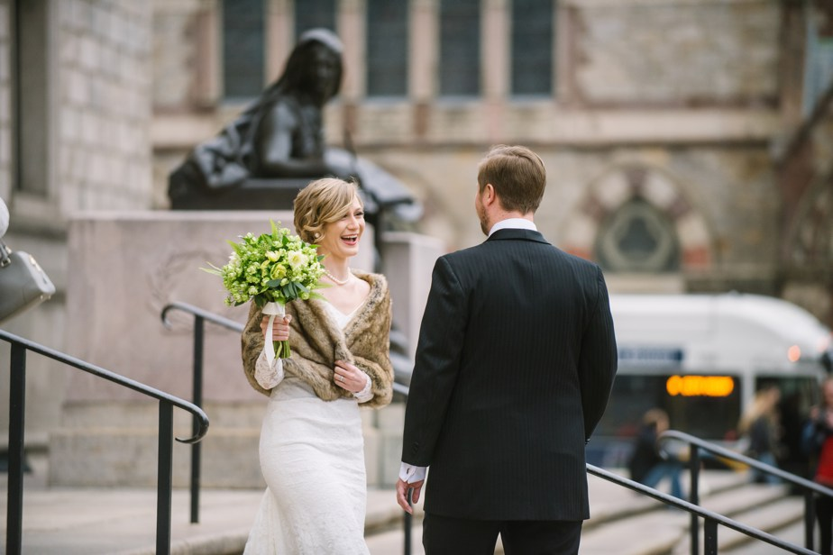 first look infront of boston public library wedding