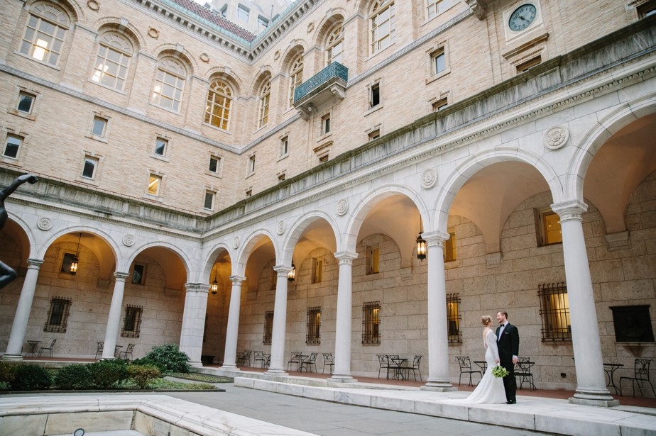 wedding portraits in courtyard at boston public library wedding