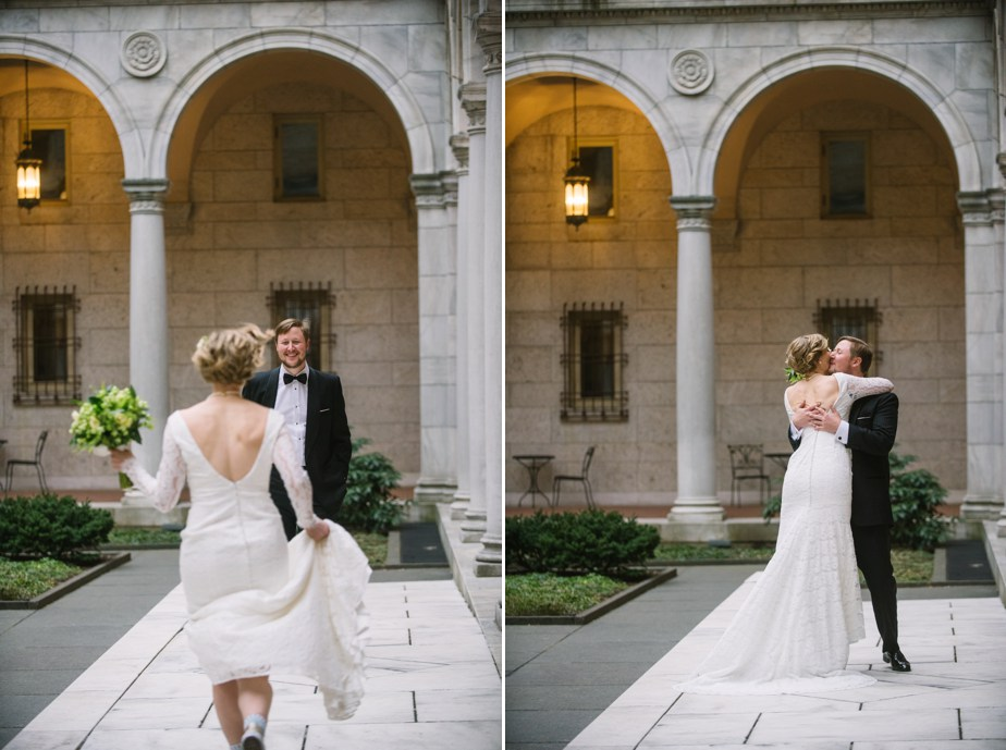 bride runs to groom in courtyard at boston public library wedding