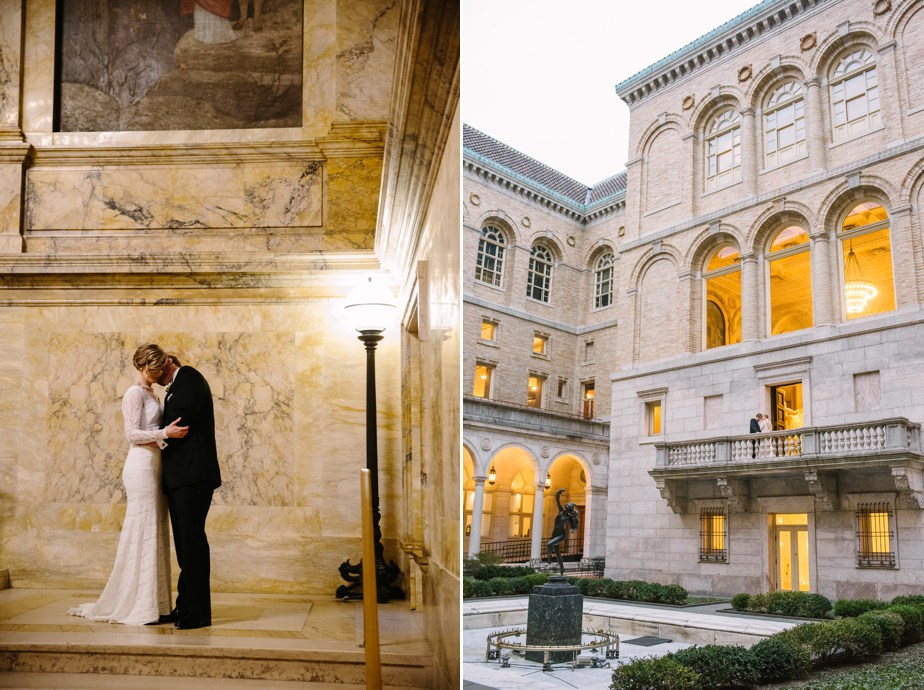 wedding portraits indoors and out in courtyard at boston public library wedding