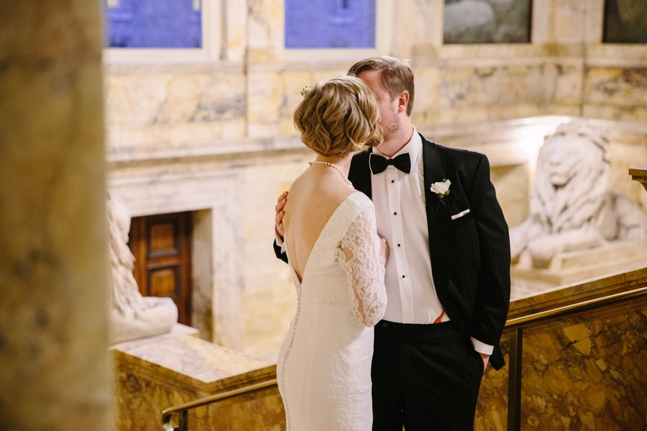 long sleeved wedding dress at boston public library wedding