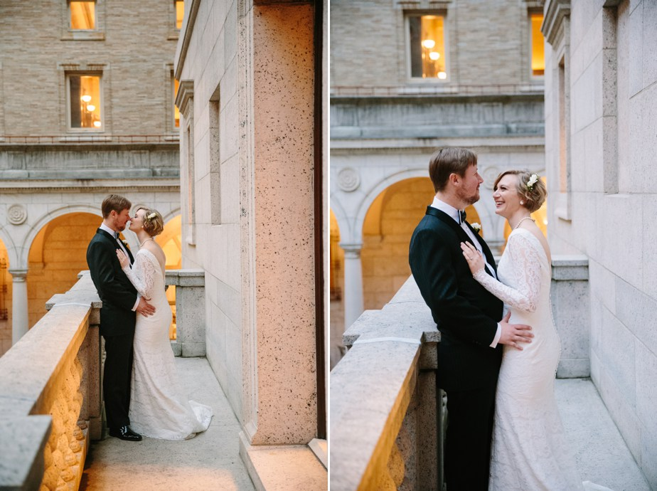 portraits overlooking courtyard at boston public library weddingv
