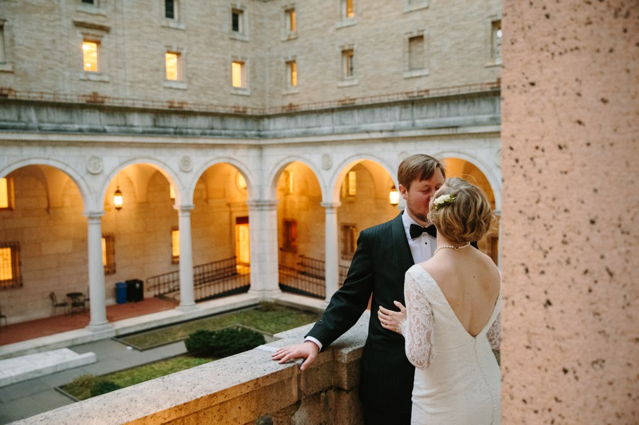 v-neck wedding dress with long sleeves at boston public library wedding