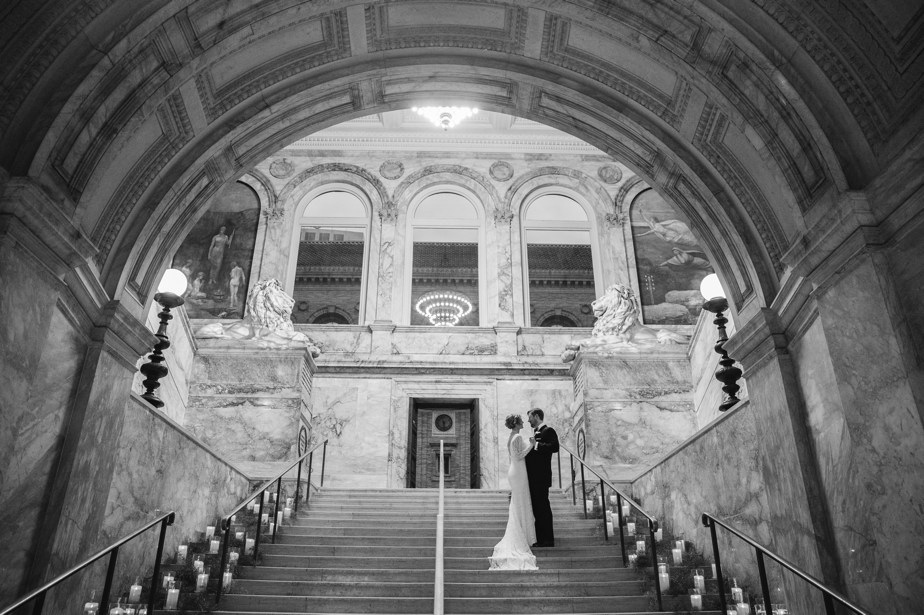 grand staircase at boston public library wedding