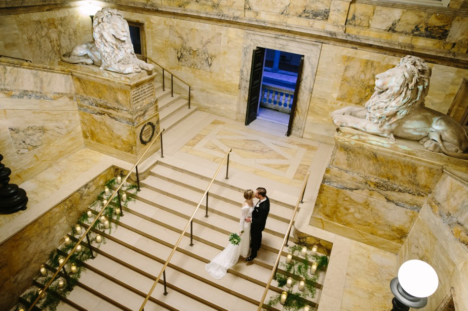 view from above at boston public library wedding
