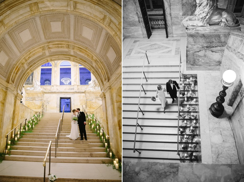 creative and artistic wedding photography at boston public library wedding