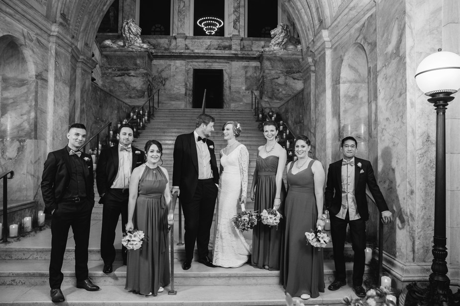 group photos on stairs of boston public library wedding