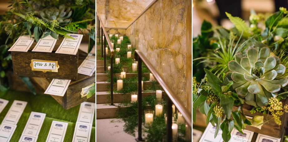 greenery details at boston public library wedding